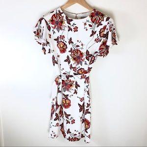 H&M Floral Dress Flounce Sleeve Modest High Neck